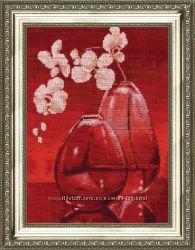 Набор для вышивания Золотое Руно Орхидеи на красной канве
