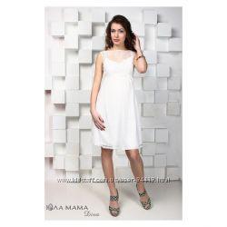 Нарядные белые молочные платья для беременных и кормящих