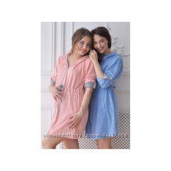 Халат для беременных и кормящих велюровый Ice-Cream, розовый и голубой