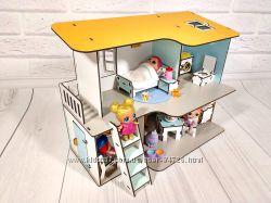 Двухэтажный Пляжный домик для кукол LOL с мебелью и текстилем