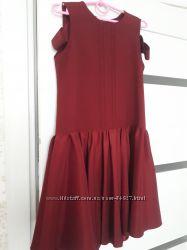 Нарядное бордовое платье, сшитое на заказ, на 7 лет