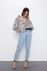 Блузка оверсайз с принтом и воланами Zara. Оригинал, Испания