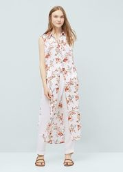 Блуза без рукавов с цветочным принтом MANGO р. М