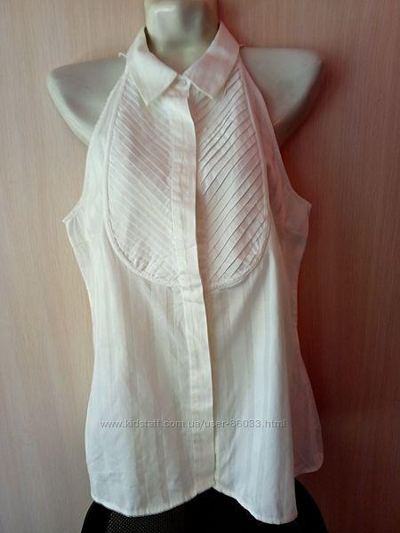 Белая офисная блуза ZARA размер L  хлопок  и эластан