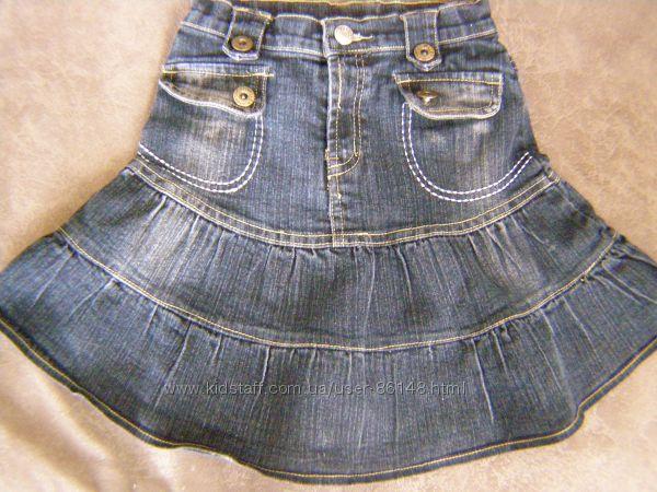 Джинсовая юбка с кармашками обманками