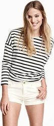 Джинсовые белые летние шорты h&m