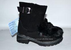 Модные  ботинки с  мехом и ушками Шалунишка р. 25-30