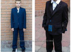 Школьная Форма для мальчика , костюм тройка . Черный и Синий