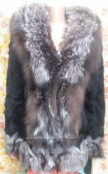 Мехова куртка - полушубок, козочка - чернобурка, размеры м, l.