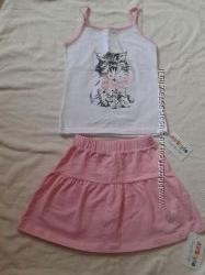Красивый летний легкий костюм, комплект юбка и майка, р. 134