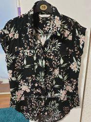 Летняя блуза с карманами р. 12 га 48-50 вискоза