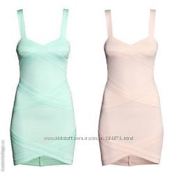 мятное и розовое бандажные платья, бренд  H&M, размер 36 , 38, 40
